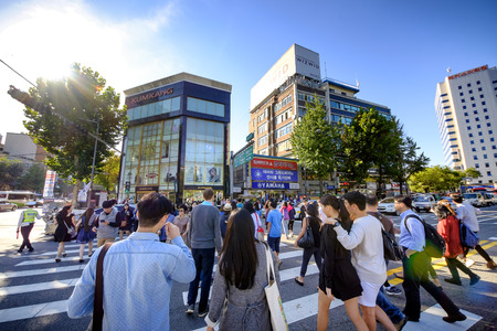 SEOUL, KOREA - OCTOBER 4, 2015 : Insadong shopping street, Korean people tourists walking shopping the neighbourhood. It is fashionable to be the most popular. neighbourhood is must when traveling.