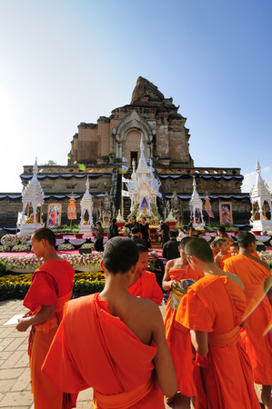 homage: CHIANG MAI THAILAND - 16 DECEMBER 2015 : Chedi Luang temple Patriarch mourning ceremony, People interested in attending and respectfully pay homage to mourning a united country.