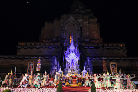 chiangmai: CHIANGMAI THAILAND-16 DECEMBER 2015 : Chedi Luang temple Patriarch mourning ceremony, Thailand is the performers dance in the Ramayana to give goodbye unto the patriarch. public rituals no copyright