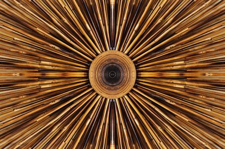 Bamboe patroon decoratie op muur Stockfoto