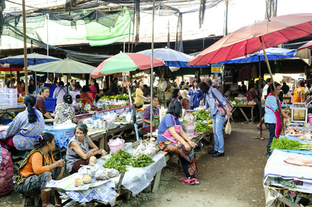 trave: LAMPHUN THAILAND - FEBRUARY 4 : Market villagers walking street, People live in a popular local shopping to cook dinner every day. on Feb. 4, 2016 in Lamphun, Thailand. Editorial