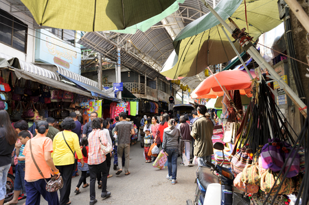 produce departments: CHIANGRAI THAILAND - DECEMBER 20 : Maesai Market, Thailand and foreign tourists visiting popular purchases at market prices and because of this diversity. on Dec. 20, 2015 in Chiangrai, Thailand Editorial