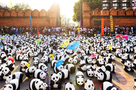 promoting: Chiang Mai Thailand - March 19 , 2016 : 1600 Pandas+ WWF. THAILAND, Exhibitions art of 1600 pandas. is part promoting the conservation of wildlife of Thailand, This event show at Tha Pae Gate plaza.