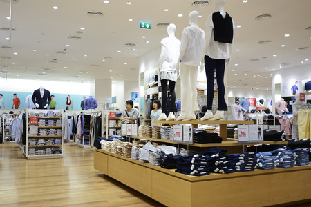 work wear: CHIANG MAI THAILAND-JUNE 18,2016 : UNIQLO SHOP, Asians popular its apparel brand. Because the styles are diverse. Beautifully designed with todays lifestyle. Products include casual wear & work wear.
