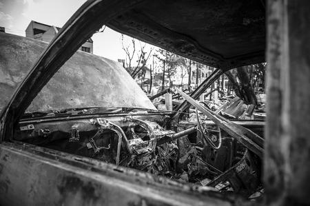 downcast: Fire incident Pickup Truck Stock Photo