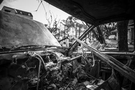 carcass: Fire incident Pickup Truck Stock Photo