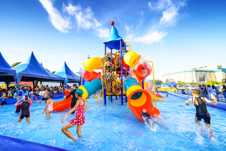 Chiang Mai Thailand - September 17, 2016 : Robinson water park, Unidentified kids are fun to play on outdoor water park at Central Plaza Chiang Mai airport shopping center. Editorial