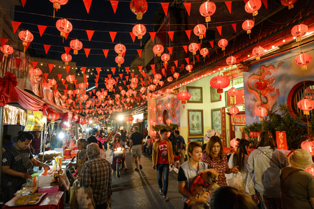 CHIANGMAI THAILAND - JANUARY 29, 2017 : Chinese New Year in Thailand, Unidentified tourists many tourists come to walk in the Chinese market. in order to buy food a variety of delicious flavors.