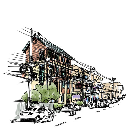 Buildings in city sketchbook : Thailand style .