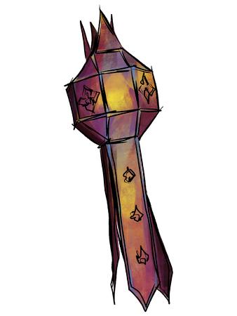 Lantern Lanna sketchbook style. Иллюстрация