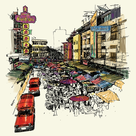 graphic pattern: Warorot Market street sketchbook style : Chiang Mai Thailand.