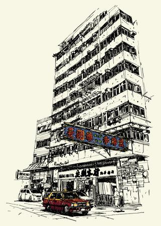 hong kong: Buildings and taxi on street sketchbook : Hong Kong. Illustration