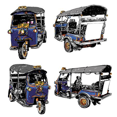 Tuk-Tuk Taxi sketchbook Thailand style.