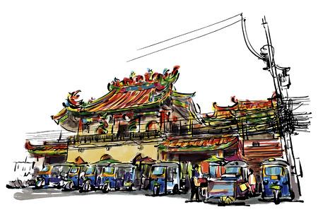 chinatown: Building Chinese Shrine sketchbook at Mae Sai Chiang Rai : Thailand style.