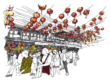Chinese new year at Chinatown sketchbook : Thailand style .