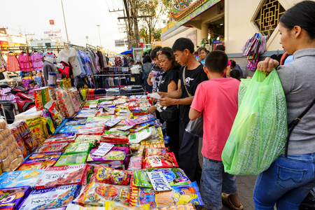 street market: CHIANG RAI THAILAND - FEBRUARY 13, 2017 : Mae Sai market, Thailand and foreign tourists walking tour popular market in Mae Sai. Because has a a variety of products and cheap. This market open daily.