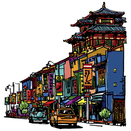 Buildings and temple on street sketchbook : Singapore. (Buddha Tooth Relic Temple) Illustration