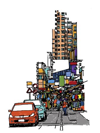 Buildings and market on street sketchbook : Hong Kong.