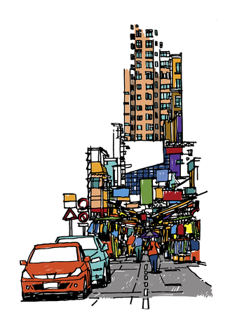 Buildings and market on street sketchbook : Hong Kong.
