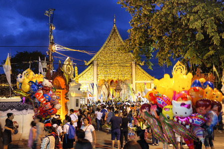 CHIANG MAI THAILAND - MAY 28, 2017 : Inthakhin traditional Offerings of flowers.Thai offering flowers attended ceremony to worship the city pillar at Chedi Luang temple Important traditions every year Editorial
