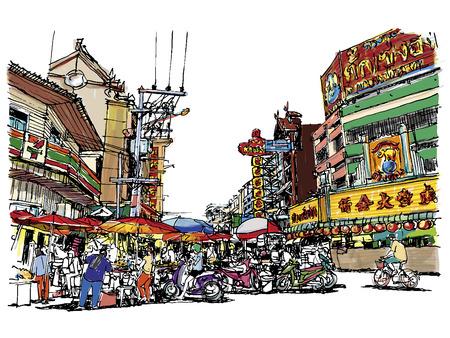 Street market sketchbook style : Vector eps. 10