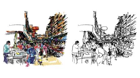chinatown: Street market sketchbook style : Vector eps. 10