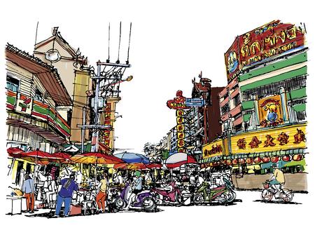 Street market sketchbook style.