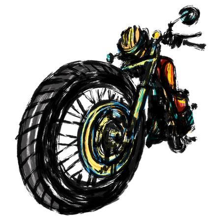 Chopper motorcycle sketchbook. Vector Illustration
