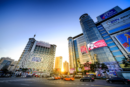 SEOUL, KOREA - OCTOBER 5, 2015 : Dongdaemun plaza shopping street, Korean people tourists walking shopping the neighbourhood. It is fashionable to be the most popular neighbourhood is must when travel