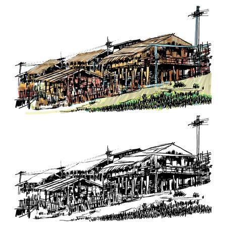House village sketchbook style : Vector EPS.10