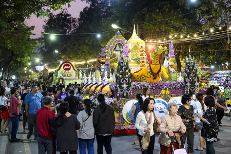 CHIANG MAI,THAILAND - FEB.3 : 42 th Anniversary Chiang Mai Flower Festival 2018, Unidentified many tourists come to the attention walks Floral Parade. This festival is held annually in February.