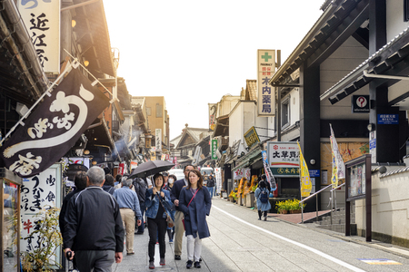 CHIBA JAPAN - MARCH 26, 2018 : Hanazakicho zone, Popular tourists walk Naritasan Omotesando road has a shop. The famous restaurant and destination is to pay homage to Naritasan Shinshoji temple. Sajtókép