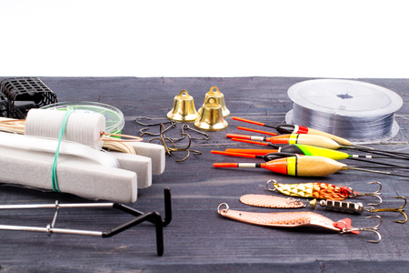 forgery: Fishing tackles on a table