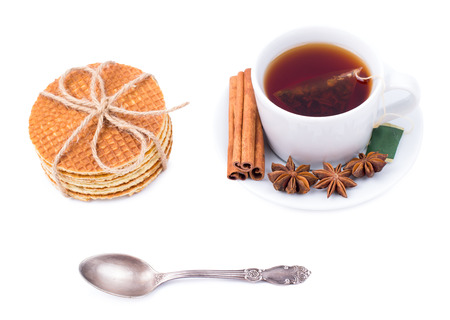 wafers: Tea and wafers on a white background Stock Photo