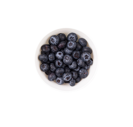 loose leaf: Blueberry, berries in a bowl on a white background