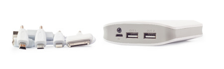 adapters: the portable storage with adapters on a white background