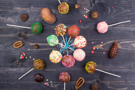 Cake pops on a table