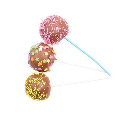 group of colourful ball: Cake pops on a white background