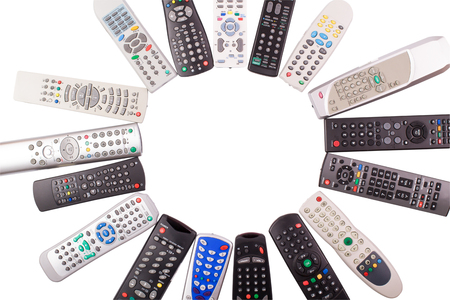 remote controls: tv remote control keypad black on white isolated