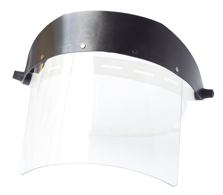 Plastic protective face shield on a white background