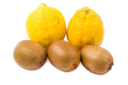 lemon wedge: Lemons and kiwi on a white background