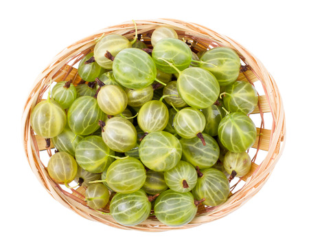Gooseberry in a basket isolated