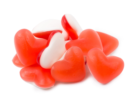 fruit jelly: Fruit jelly in the form of heart isolated