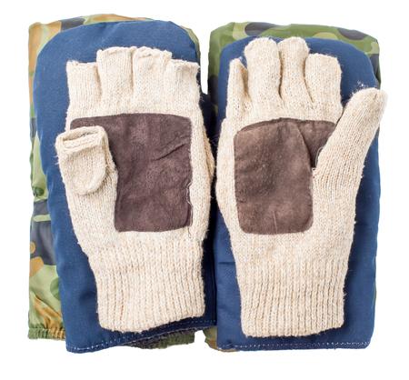 cutoff: Three types of mittens, winter, warm on a white background