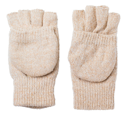 cutoff: Knitted gloves with the cut-off ends on a white background