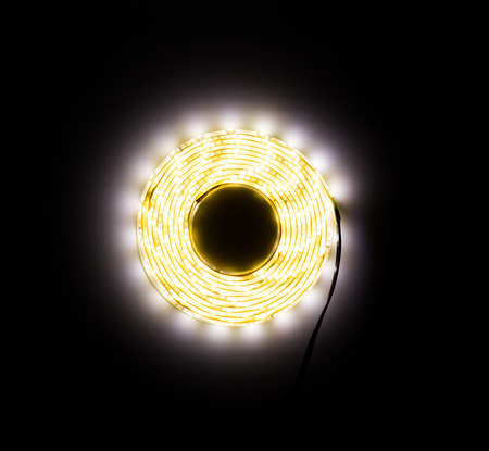 The LED tape shines