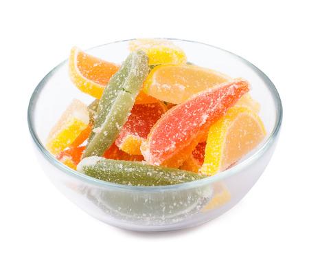 fruit jelly: Fruit jelly fruit segments isolated Stock Photo