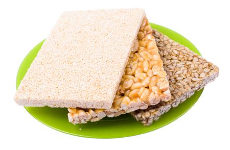 sunflower seeds: Gozinaki: sunflower seeds, the peanut, sesame isolated