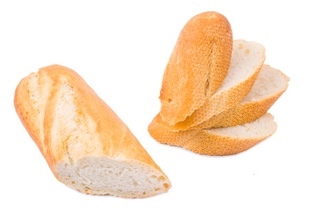Bread the cut baguette isolated
