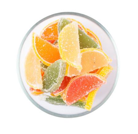 sweet segments: Fruit jelly fruit segments isolated Stock Photo